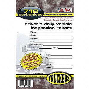 Drivers Vehicle Inspection Report Book Business